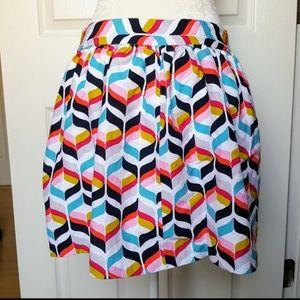Cynthia Rowley 6 Linen Geometric Skirt